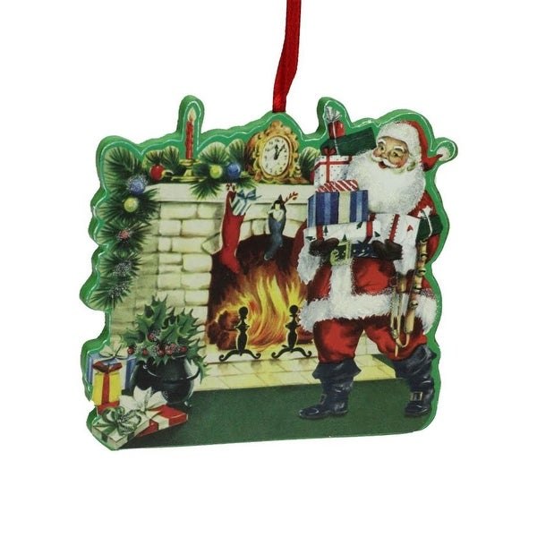 """4"""" Decorative Retro Santa in Front of Fireplace Wooden Christmas Ornament - green"""