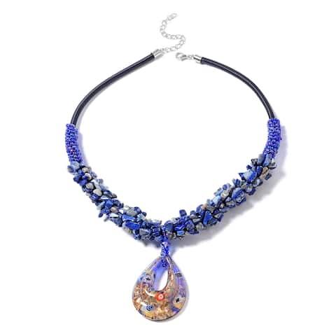 Lapis Lazuli Blue Murano Elegant Necklace in Platinum Plated 20 inch - Size 20''