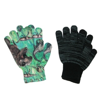 Aquarius Boys' Texting Glove and Dinosaur Print Glove - black and green dinos - One Size