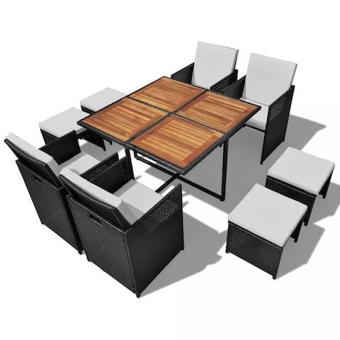 vidaXL Acacia Wood Outdoor Dining Set Poly Rattan Black Table Chair Seating