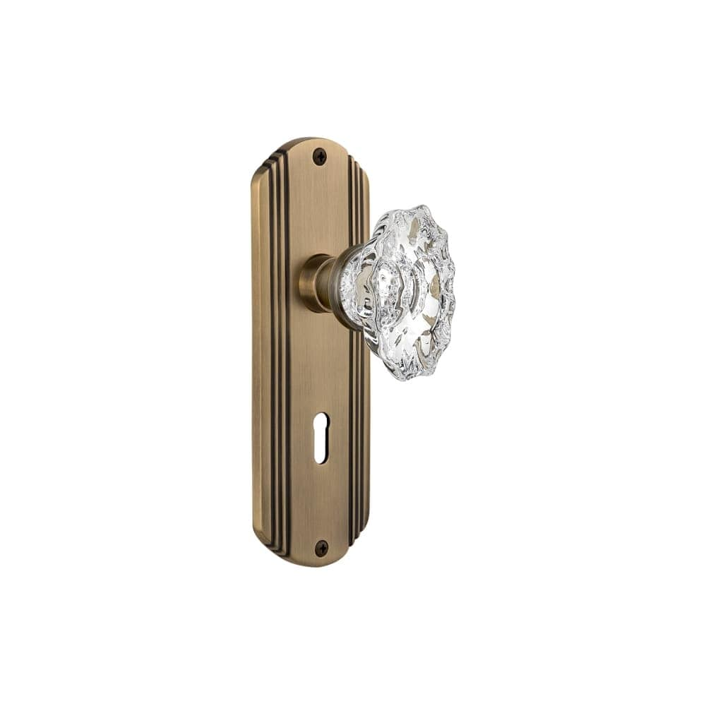Nostalgic Warehouse DECCHA_SD_KH  Chateau Solid Brass Single Dummy Knob with Deco Rose and Keyhole (Bright Chrome)