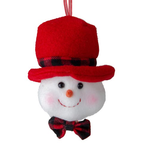 """4.5"""" Snowman Wearing a Red Top Hat with a Bow Tie Christmas Ornament"""