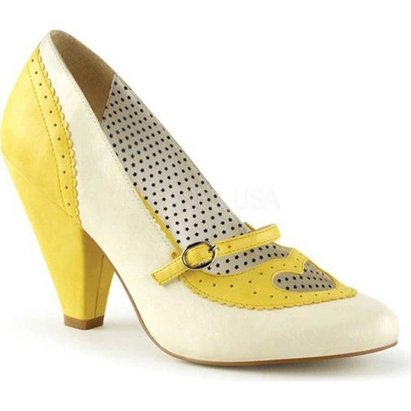 40008d4c525c17 Shop Pin Up Couture Women's Poppy 18 Mary Jane Pump Yellow/Cream Faux  Leather - Free Shipping On Orders Over $45 - Overstock - 13156206