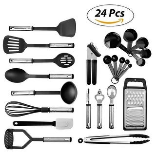 Kaluns® Kitchen Utensils - 24 Nylon Stainless Steel Cooking Supplies - Non-Stick and Heat Resistant Cookware set