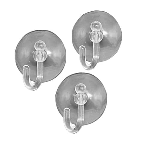 3pcs White Suction Cup Wall Hooks for Towels Bathroom Kitchen - Clear
