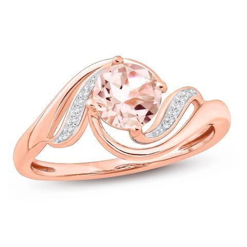 Cali Trove 3/4 Carat White Diamonds And Natural Round Morganite Halo Fashion Ring In 10K Rose Gold.