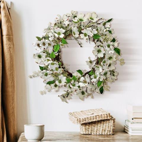 """Dogwood & Fern Wreath 26"""""""