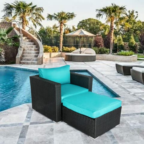 Havenside Home Kwan Wicker Chairs with Ottoman Patio Set