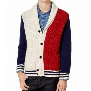 Tommy Hilfiger Blue Men Medium M Colorblock Cardigan Wool Sweater