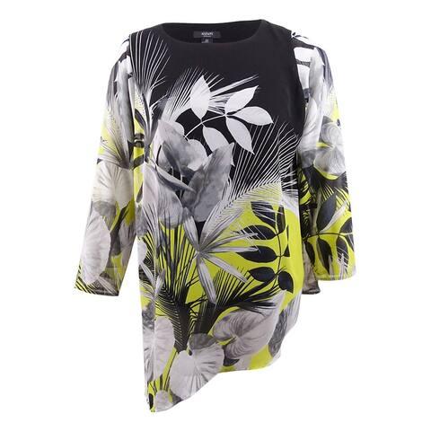 Alfani Women's Plus Size Asymmetrical-Hem Tunic - Mixed Leaves