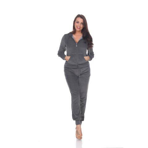 Fitted Velour 2 Piece Set - Charcoal