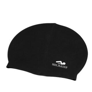 Unique Bargains Adult Athletes Silicone Dome Design Elastic Swim Swimming Cap Hat Swimwear Black