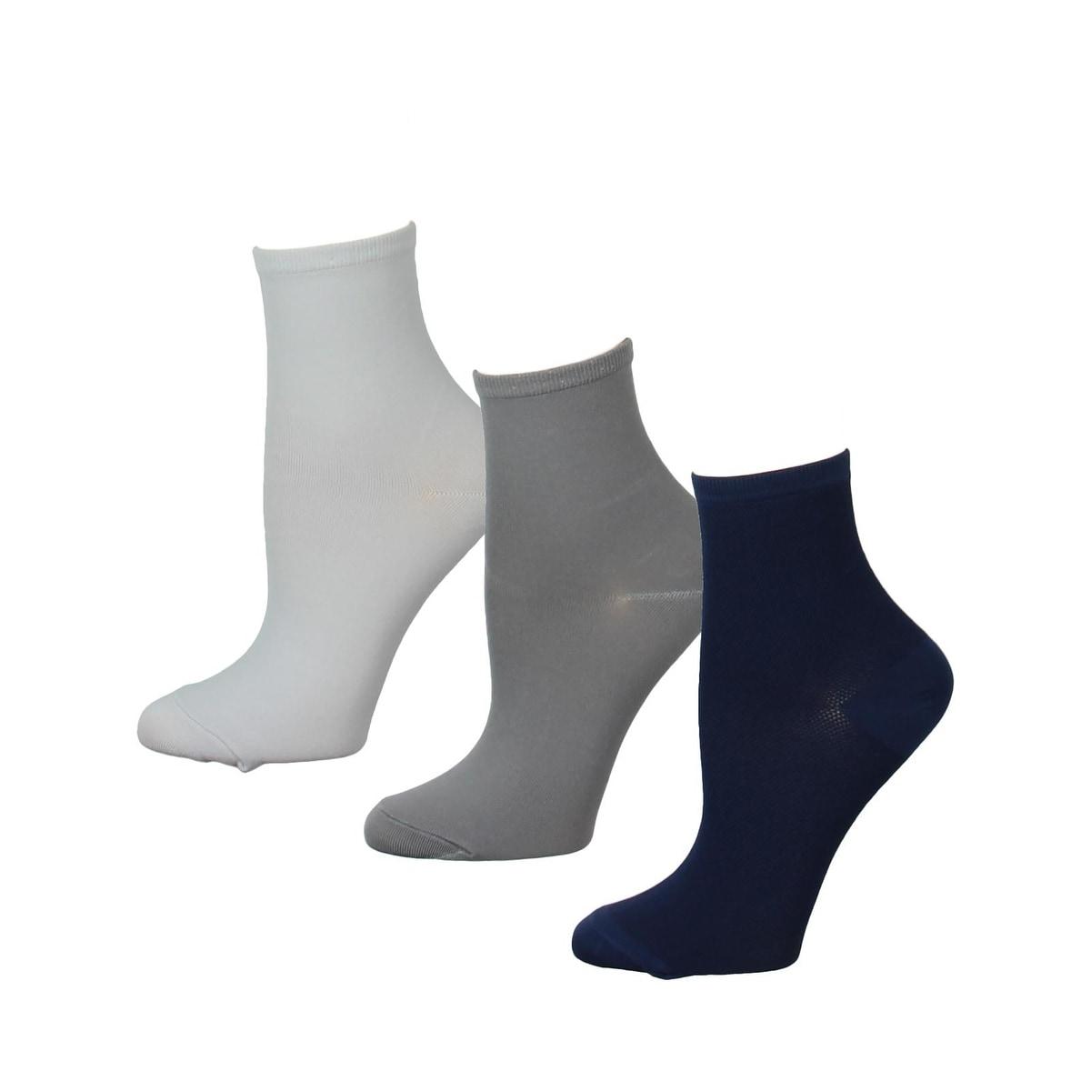 Halston Women/'s Low Cut Socks 6 Pr Lightweight Black//Grays Sock Size 9-11
