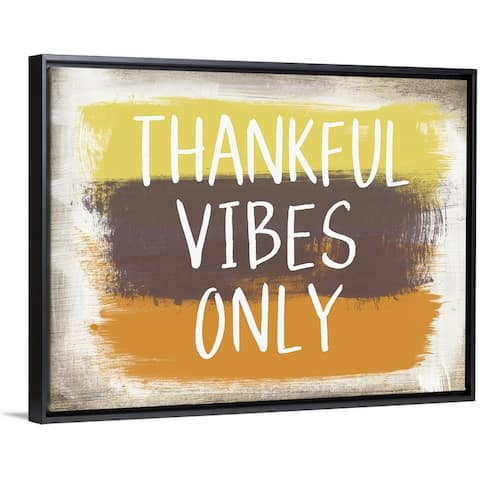 """""""Thankful Vibes Only"""" Black Float Frame Canvas Art"""