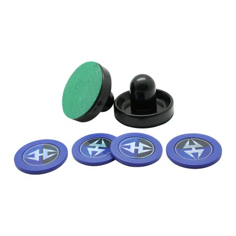 Hathaway Air Hockey 3.75-in Strikers and 2.87-in Pucks - Black and Blue