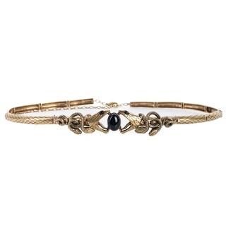 Roberto Cavalli Antique Gold Metallic Mesh Serpent Stone Belt