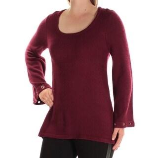 Link to KENSIE Womens Maroon Bell Sleeve Scoop Neck Sweater  Size S Similar Items in Tops