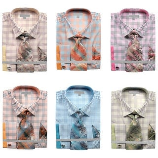 Men's Grid Checker Pattern French Cuff Shirt Tie Handkerchief Cuff Links