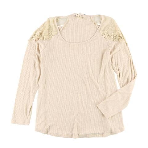 Hippie Rose Womens Ribbed Basic T-Shirt, Beige, X-Large