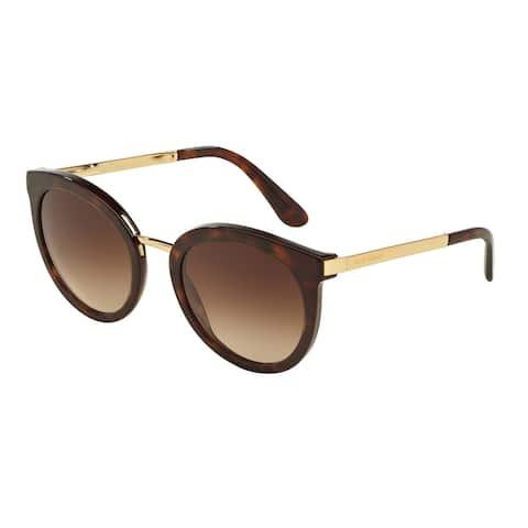 Dolce & Gabbana Round DG4268F Women's Havana Frame Brown Gradient Lens Sunglasses