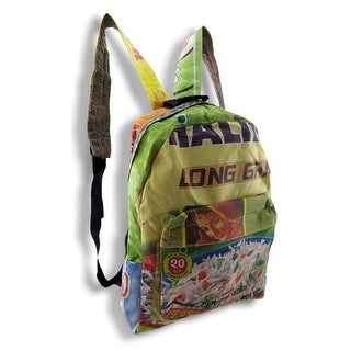 Colorful Recycled Rice Bag Backpack 16 in Tall, 14 in. Long, 5 1/2 in. Wide