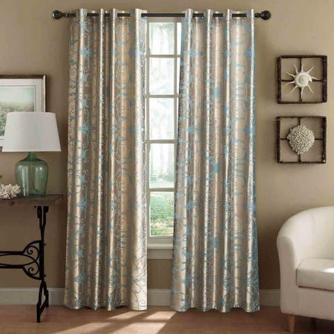Curtains Damask Jacquard, Grommet, Semi-Blackout, Tall 60x100 inches