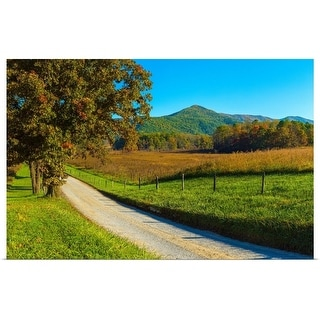 """""""Dirt road passing through a field, Great Smoky Mountains National Park"""" Poster Print"""