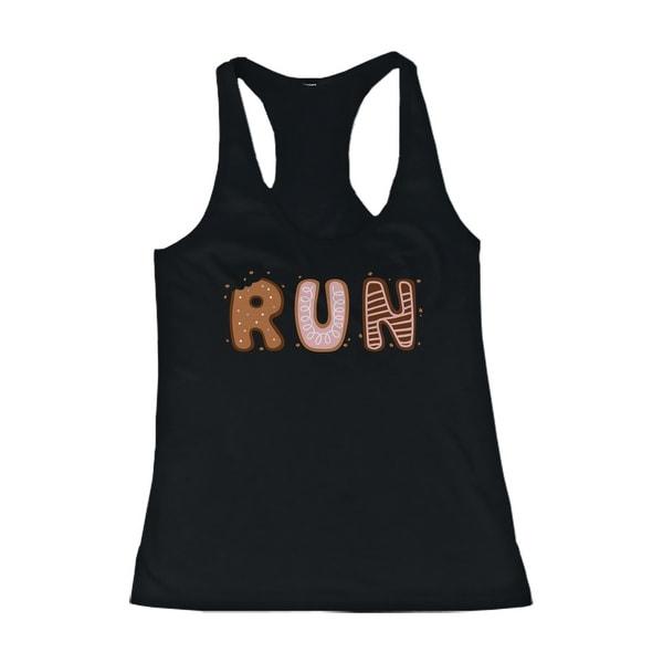 Cookie Letter RUN Women's Work Out Tank Top Ladies Cute Gym Black Tanktop