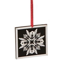 5 in. Alpine Chic Country Rustic Style Black & White Glittered