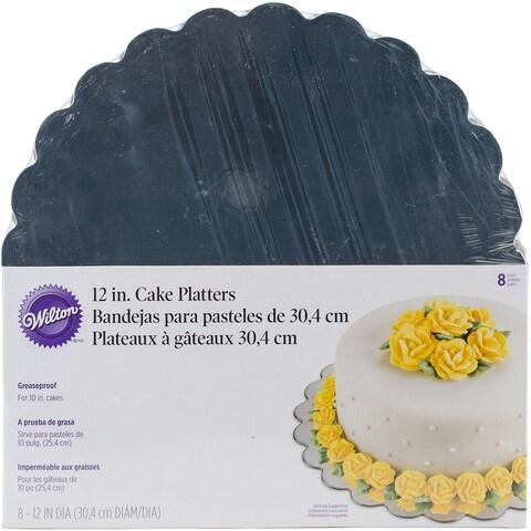"Cake Platters-12"" Round Silver 8/Pkg"