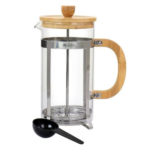 """Mr. Coffee Cafe Bambu 33Oz Glass French Coffee Press w/ Bamboo Handles - 6.25"""" x 4"""" x 8.5"""""""