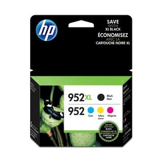 HP 952XL Black & 952 Cyan, Magenta, Yellow Ink Cartridges, 4-Pk N9K28AN - Black and Colors