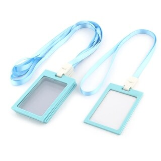 Office Staff Neck String Lanyard Vertical ID Card Holder Container Blue 5 Pcs