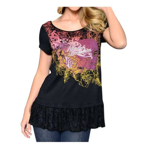 4fa0d8bf54a56 Harley-Davidson Women s Pro Fly Embellished Lace Trim Short Sleeve Top
