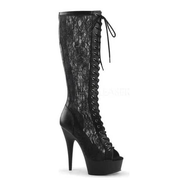 Shop Black Friday Deals On Pleaser Women S Delight 2025 Peep Toe Knee High Boot Black Faux Leather Mesh Lace Black Matte Overstock 11143903