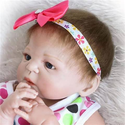 "23"" Beautiful Full Simulation Silicone Baby Girl Reborn Baby Doll - 7'9"" x 10'10"""