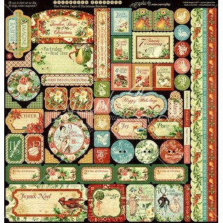"""Graphic 45 Deluxe Collector's Edition Pack 12""""X12""""-12 Days Of Christmas"""