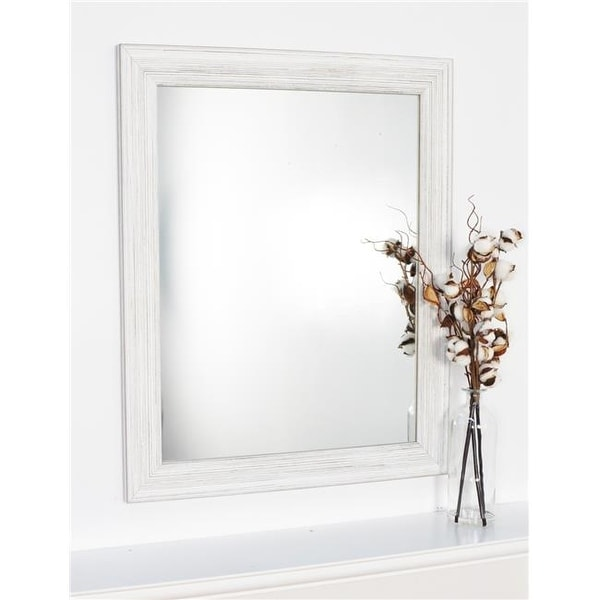 White Texture Vanity Framed Wall Mirror 16 X 26 5 In