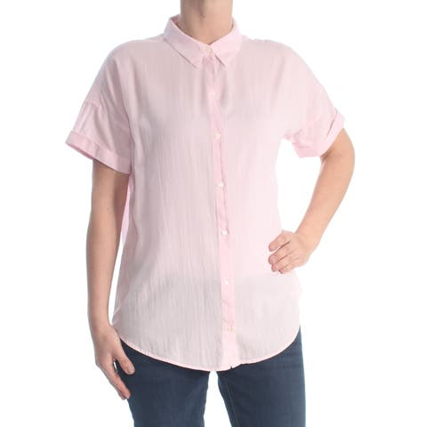 LEVI'S Womens Pink Short Sleeve Collared Button Up Wear To Work Top Size: XL