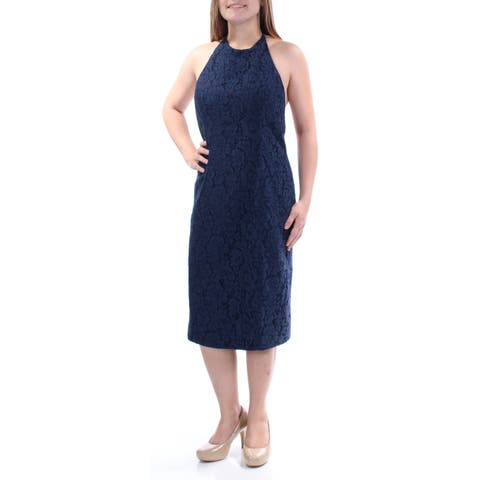FAME AND PARTNERS Womens Navy Lace Floral Sleeveless Halter Below The Knee Shift Dress Size: 2