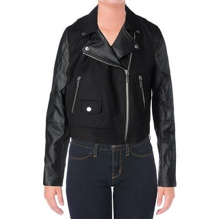 Michael Kors Womens Motorcycle Jacket Faux Leather Crop