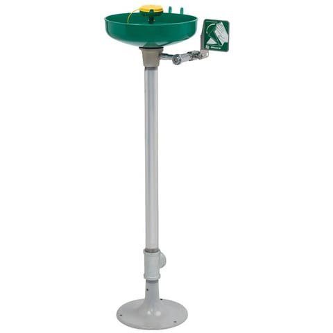 Haws 7261-7271 Pedestal mounted, plastic bowl eye/face wash with AXION MSR eye/fac - Stainless Steel