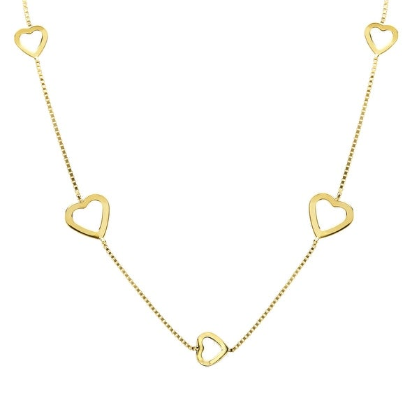 Just Gold Heart Station Necklace in 10K Gold - Yellow