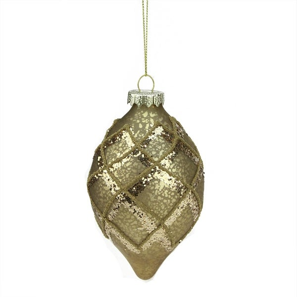 "5"" Rich Elegance Gold Mercury Glass Glittered Teardrop Finial Christmas Ornament"