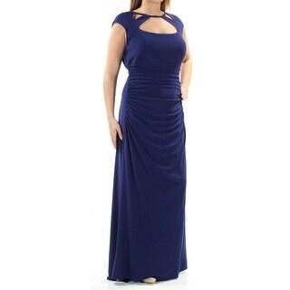 BETSY & ADAM $219 New 1275 Purple Pleated Cut Out Cap Sleeve Dress 14W Plus B+B