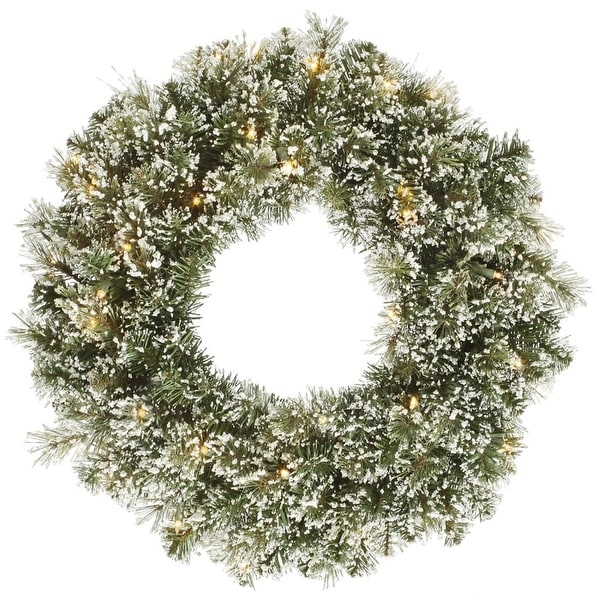 """24"""" Pre-lit Frosted Cashmere Pine Artificial Christmas Wreath - Warm Clear LED Lights - green"""