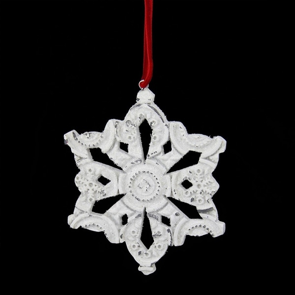 """3.25"""" Distressed White Glittery Embossed Snowflake Christmas Ornament"""