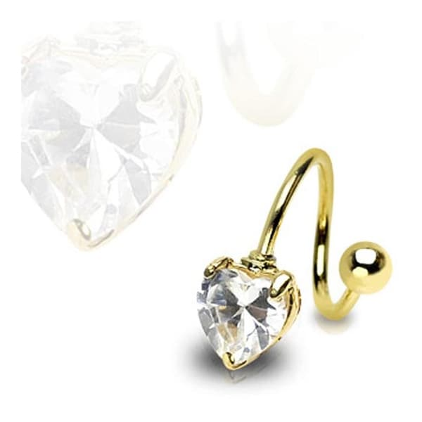 Gold Plated Twist with Prong-Set Heart Gem