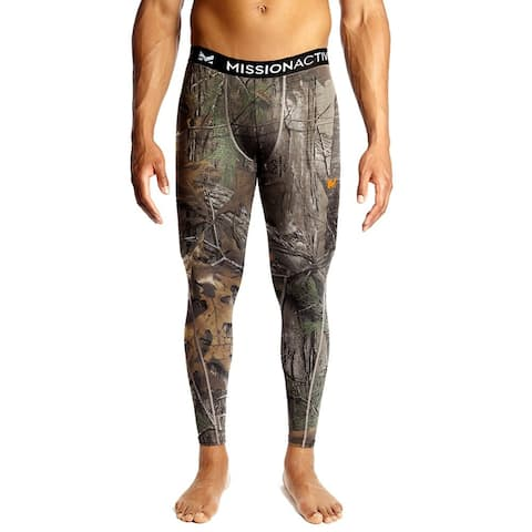 Mission Mens Green XL Camoflauge Print Activewear Base Layer Leggings