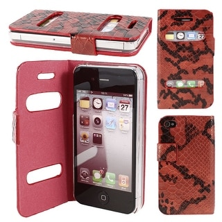 Unique Bargains Black Red Snake Pattern Phone Pouch Case Cover Protector for Apple iPhone 4 4th
